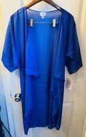 NWT LuLaRoe M SOLID Solid Blue Black Shirley Kimono Coverup Overlay Caroline Red