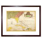 Map Antique Catesby Carolina Florida Bahama Cuba Framed Wall Art Print