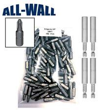 100-Pack Grabber #2 Reduced Phillips Drywall Driver Bits + 4 DeWalt Bit Holders