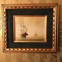 Antique Vintage Oil Painting - Impressionist Ships Sailing - Carved Gilt Frame