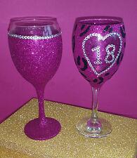 2 Rosa Leopardo Gem 18 Completo vino Brillo Gafas cumpleaños regalo de Navidad Presente