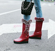 Ladies Wedge Heel Lace Up Fur Trim Boots Snow Fashion Shoes Winter Warm Casual 8
