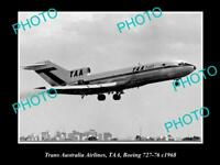 OLD HISTORIC AVIATION PHOTO OF TAA TRANS AUSTRALIA AIRLINES BOEING 727 1968