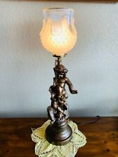 Antique Metal Converted Electric Gas Table 00004000  Lamp Newel Post Cherub - Glass Shade
