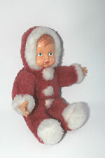 Christmas doll Plastic face Fur outfit Baby Winter snow clothes Vintage  B50