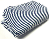 Croscill Vintage Discontinued Fitted Queen Sheet 1 Bedding Blue White Stripe htf