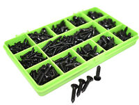 390 ASSORTED POZI RAISED COUNTERSUNK BLACK ZINC SELF TAPPING SCREWS - DIN7983