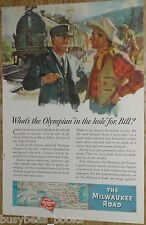 1944 MILWAUKEE ROAD advert, Olympian, EP-2 electric locomotive, conductor, WWII