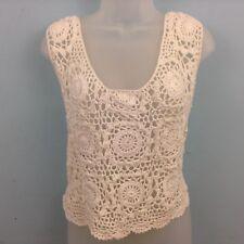 Asos Womens Crocheted tank top cream UK Large cropped sleeveless