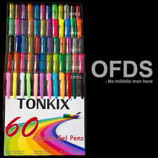 Tonkix 60 colours drawing Gel pens pack coloring book adult kids colors 48 50