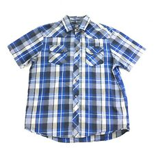 The North Face Mens Blue Plaid Button Front Short Sleeve Camping Shirt L