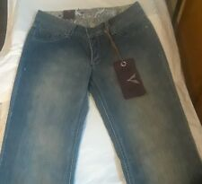 "Womens Livil V Society Jeans For the People w Leather trim 28  Rise 8"" Distress"