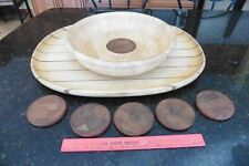 "Lot of Wooden Dansk Ware Wood serving tray 22"" large platter & appetizer bowl ++"