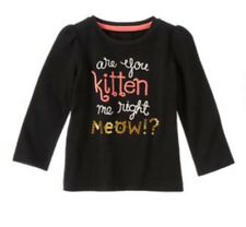 Gymboree RIGHT MEOW Black Are You Kitten Me Shirt Top Nwt 12-18 M new Girls