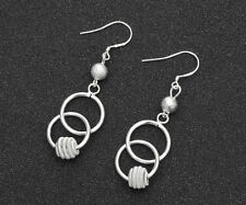 Wholesale Fashion Womens Jewelry 925 Silver Plated Bicyclic ball Dangle Earrings