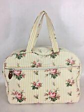 Vintage Ralph Lauren Floral Cabbage Rose Travel Hand Bag Yellow Striped Rare