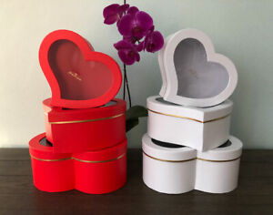 Premium Quality Heart Shape Flower Box, Floral Gift Box, Set of 3, with Lids