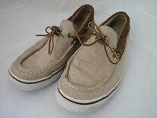 Timberland Men's Beige Canvas Shoes Slip On Loafers US 10.5 M Laces Rubber Soles