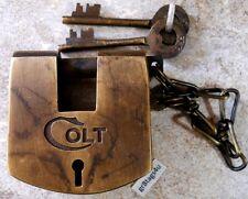 Colt brass ammo box lock old west firearms padlock