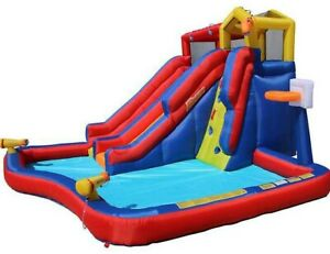 Banzai Twin Falls Inflatable 8-Person Water Park  (Dimensions 7ft H ×13W ×14L)