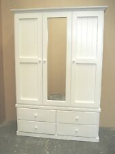 Solid Pine 3 Door 4 Drawer Combo Wardrobe with Mirror in White