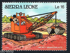 WALT DISNEY 1 FRANCOBOLLO SIERRA LEONE MICKEY MOUSE MINING BAUXITE nuovo