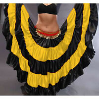 YELLOW Satin Gypsy Skirt 5 Tier 32 Yard Belly Dance Tribal Costume Ethenic Jupe