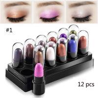 12 pcs Highlighter Eyeshadow Pencil Glitter Eye Shadow Eyeliner Pen Cosmetic