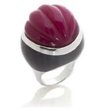 Rarities Fine Jewelry w/Carol Brodie Carved Red Agate Sterling Silver Ring Sz 6