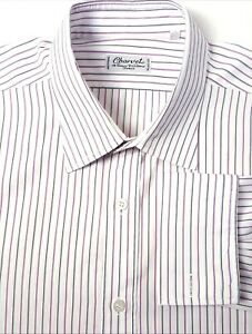 Charvet 17.5 White w/ Pink Striped French Cuff Dress Shirt MADE IN FRANCE 34.5