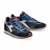 Diadora Heritage Scarpa Sneaker Unisex EQUIPE H DIRTY STONE WASH EVO Blu Atlanti