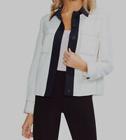 $180 Women's Vince Camuto Ivory Black Colorblocked Point Collar Jacket Size 4