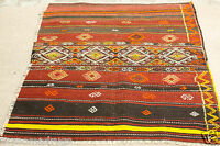 Antique 1930-1940's Tribal Camel Bag Chuval Sumak Embroidered Panels Wool Rug