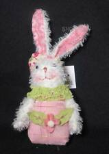 """Gersons 5"""" Chenille Bunny with Pink Overalls"""
