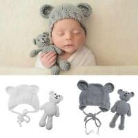 Newborn Baby Bear Hat Set Girls Boys Photography Crochet Knit Costume Props