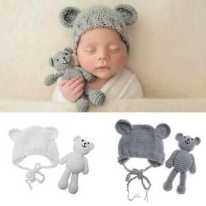 Newborn Baby Girl Boy Crochet Knit Costume Bear +Hat Photography Photo Prop HS