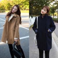 Winter Women's Warm Outwear Wool Lapel Slim Trench Parka Coat Jacket Overcoat
