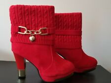 Women's Red Fashion Cotton Boots Ladies High Heels Boot Size 7.5