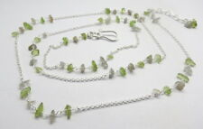 32 Inch Long Necklace Natural Gemstone Peridot Beaded Silver Link Chain