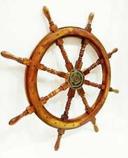 "36"" Ship Steering wheel pirate Decor wood & Brass Wall Boat Captain Nautical"