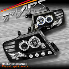 BLACK LED ANGEL EYES PROJECTOR HEAD LIGHTS FOR MITSUBISHI PAJERO 00-06 NP NM