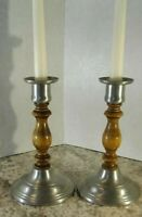 Vintage Pewter And Wood Candle Holders Set Of Two, Rustic, Primitive. Marked...