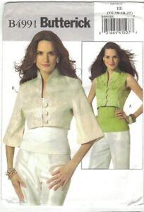 Butterick 4991 Asian Inspired Cropped Jacket & Vest Pattern Choose Size Uncut
