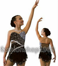 New Ice Figure Skating Dress Skating Dress black For Competitio size 14 in store