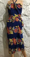 Vintage 40's 50's Rayon Floral Hawaiian Strapless Dress XS