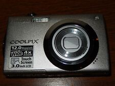 "Nikon Coolpix S4000 12MP 4x Optical 3"" Touch-Panel LCD Digital Camera ""AS-IS"""