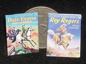 Dollhouse Miniature Roy Rogers / Dale Evans  2 Children's Books 1:12 Cowboy Book