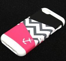For iPhone 5C - HARD & SOFT RUBBER HYBRID HIGH IMPACT CASE PINK ANCHOR CHEVRON