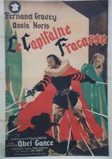"""""""LE CAPITAINE FRACASSE"""" Affiche ent. Théophile GAUTIER,Abel GANCE,Fernand GRAVEY"""