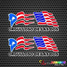 2x ORGULLOSO DE LAS DOS PUERTO RICO AND USA FLAGS VINYL CAR STICKERS DECALS